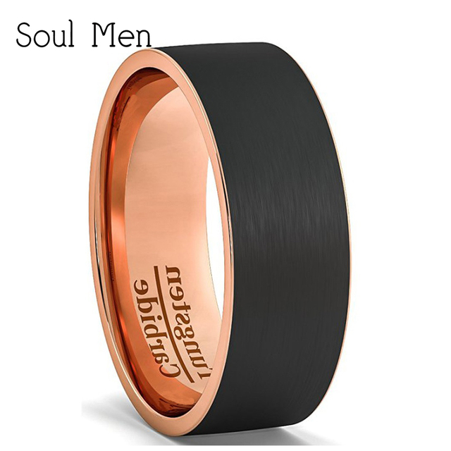 Mens Wedding Band Black Rose Gold Color Cool Tungsten Wedding Ring