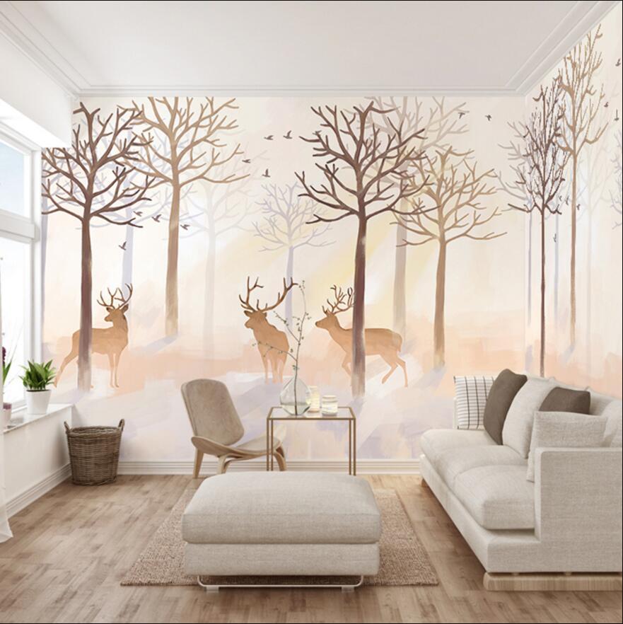 wall printing murals for wallpaper 3d dreaming reindeer customer made wall paper