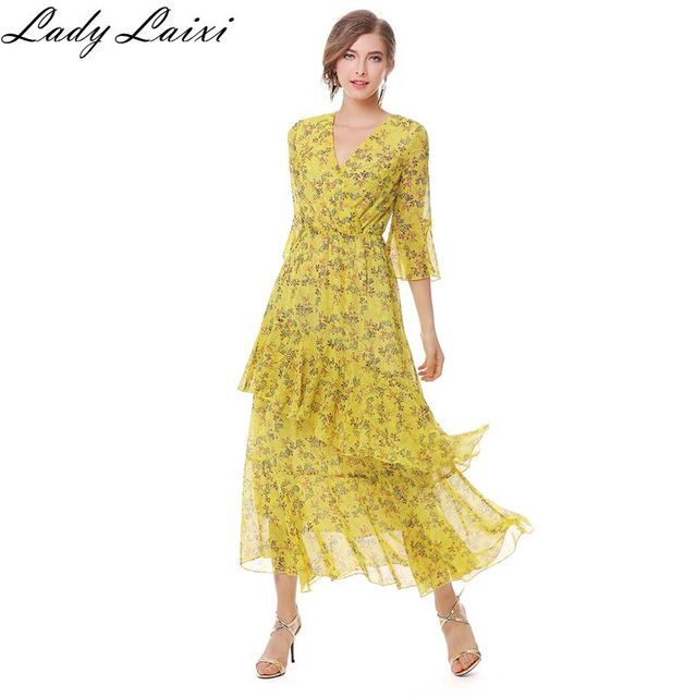 8867f6d278be58 Spring Women Summer Chiffon Dress Vintage Floral Print Maxi Dress Yellow  Vestidos Verano Ruffles BOHO Beach