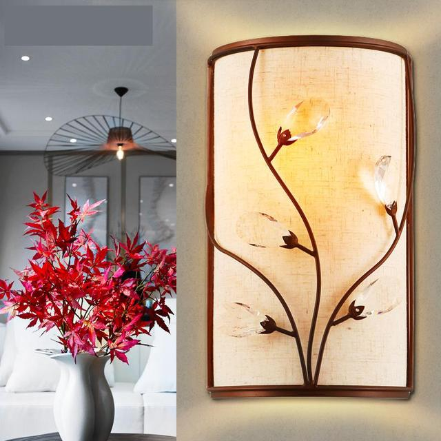 Chinese Style Palace cloth Wall Lamps Led Crystal wall Lamp Bedroom Bedside Modern Living Room Aisle Stairs Sconce Wall Lights