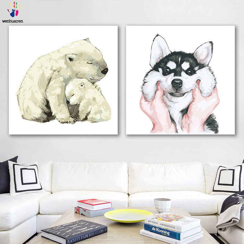 DIY colorings pictures by numbers with colors Watercolor small animal picture drawing painting by numbers framed Home