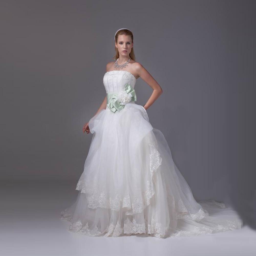 2017 Dwayne Brand Wedding Dress White Organza Strapless