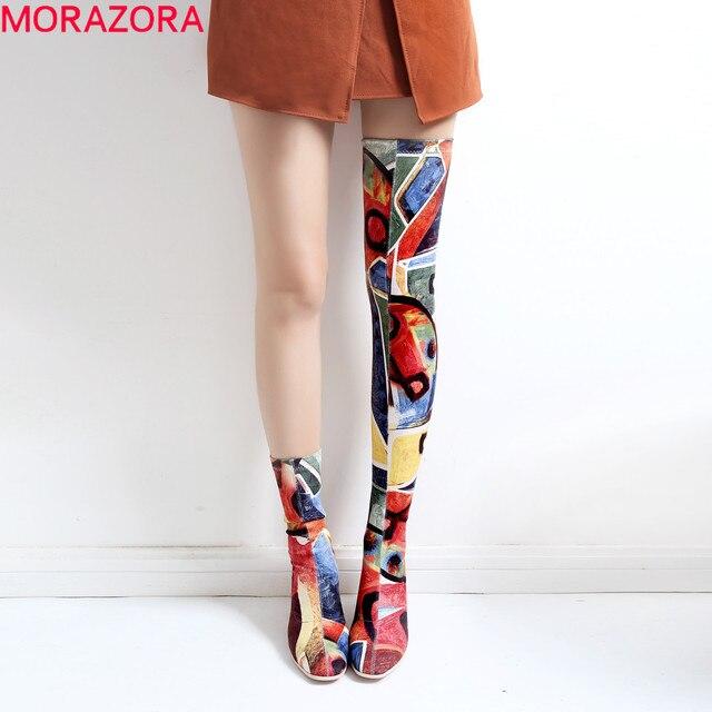 MORAZORA 2020 חדש מותג צבעים מגפי נשים גבוהה עקבים סקסי אירופאי מעל הברך מגפי סתיו חורף גבירותיי ירך גבוהה מגפיים