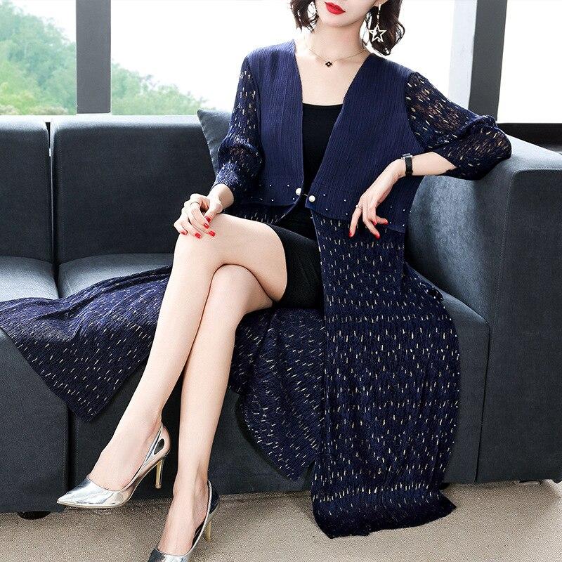 Taille Black D'une Robe Rides Automne Dame Plissée Pièce Femmes Longue navy Hiver Seule Libre wine Féminin Élégante Impression xUOxRZnwIq