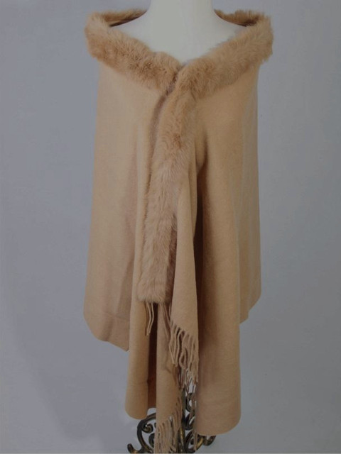 Free Shipping Caeml Winter Women's Wool Cashmere Rabbit Fur Shawl Scarf Thick Warm Wrap WS-107