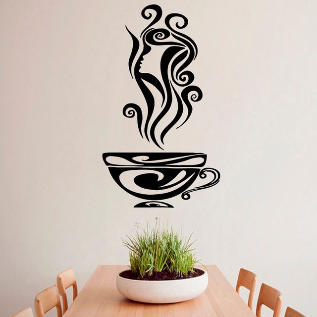 Hot Coffee Cup Aroma Girl Hair Profile Wall Stickers Kitchen Cafe Design Wall Vinyl Decal Sticker Art Mural