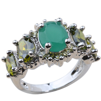 Exclusive Green Zircon Olive Peridot 925 Sterling Silver For Women Ring Size 5 6 / 7 / 8 / 9 K0468