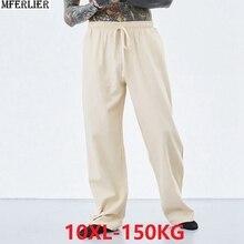Зимние осенние мужские винтажные брюки из хлопка размера плюс 7XL 8XL 9XL 10XL повседневные домашние удобные брюки в китайском японском стиле цвета хаки синего цвета