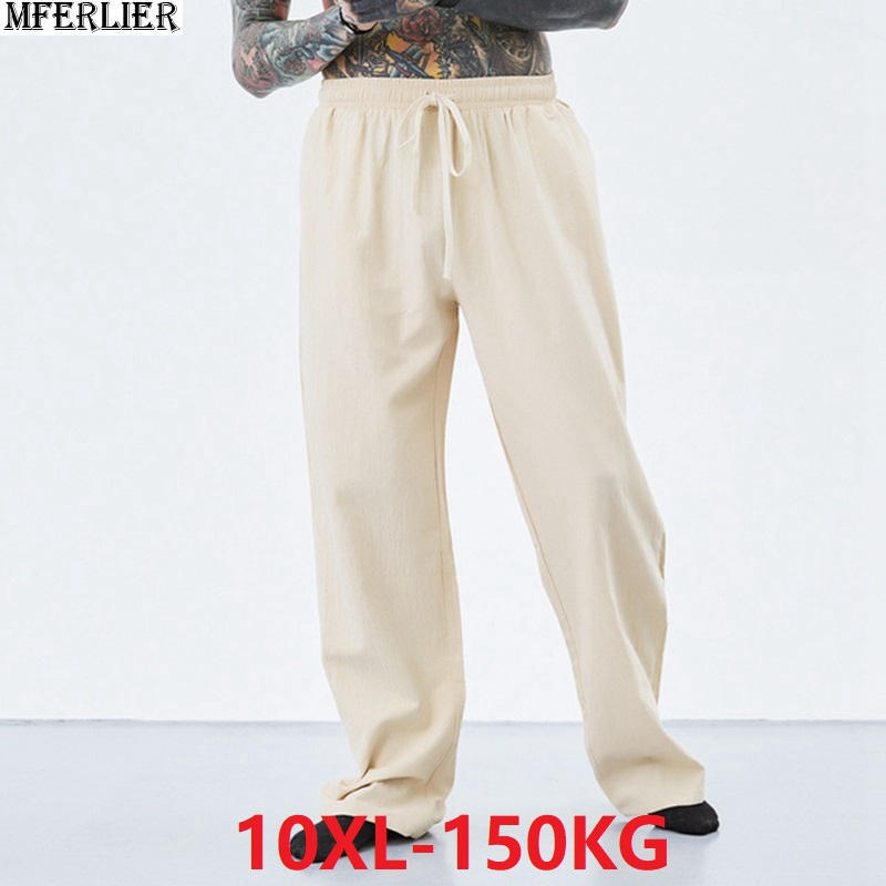 Summer Spring Men Vintage Pants Cotton Plus Size 7XL 8XL 9XL 10XL Casual Home Chinese Japan Style Khaki Comfortable Pants Blue