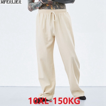 summer spring men vintage pants cotton plus size 7XL 8XL 9XL 10XL casual home chinese japan style khaki Comfortable pants blue Others Men's Fashion