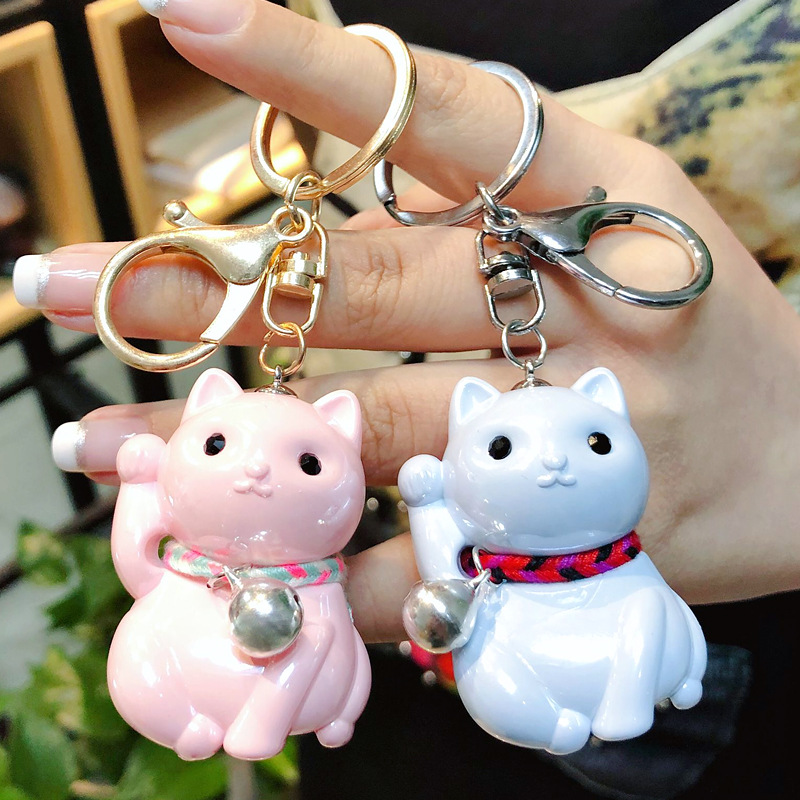 Cute Lucky Cat Key Chain Car New Model Cat Pendant Car Key Holder 5 Color Bag Charm Accessories KeyRing Business Gift K2244