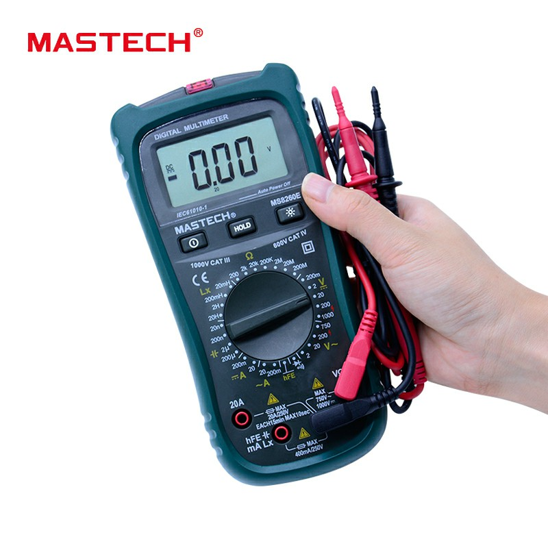 MASTECH Digital Multimeter LCR Meter AC DC Voltage Current Tester w/hFE Test & LCD Backlight Meter Multimetro MS8260E mastech mas830l mini digital multimeter handheld lcd display dc current tester backlight data hold continuity diode hfe test