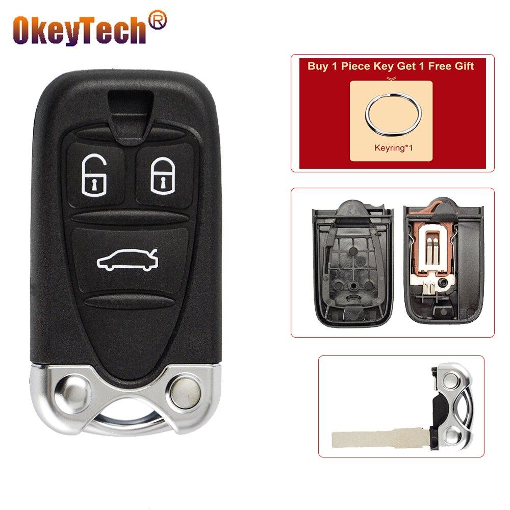 Okeytech escudo chave do carro inteligente fob para alfa romeo 159 brera156 aranha 3 botão remoto chave substituição sem corte lâmina acessórios automóveis
