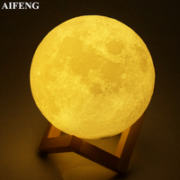 AIFENG Moon Led Night Light USB Rechargeable 3D Print Moon Lamp 2 Color Change Brightness Adjust