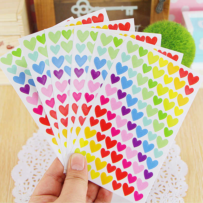 6 sheets/lot Cute Kawaii Heart Dot Sticker For Photo Album Decoration Supplie Lovely Star Stickers Toys Scrapbooking Paper Craft