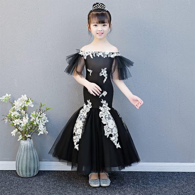 Kids Girls Elegant Mermaid Dress Children Lace Mesh Appliques Party Dress Teenage Girls Princess Bowknot Trumpet Vestidos Q157
