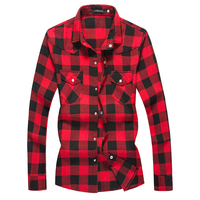 Mens Shirts Red Plaid Mens Casual Dress Shirt Long Sleeve Turn Down Collar Slim Fit Cotton