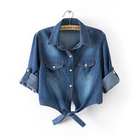 100 Cotton All Match Women Slim Denim Shirt Fashion Jeans Style Short Lapel Bow Outerwear Cardigan