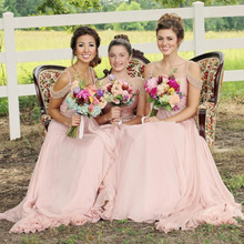 2017 Cheap Light Pink Chiffon Bridesmaid Dresses Straps Off the Shoulder Beading Crystals Zipper Back Cheap vestido madrinha