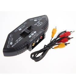 3-Way аудио-видео AV Переключатель коробка RCA черный Переключатель Селектор коробка сплиттер с 3RCA кабель для всех стандартных AV устройств
