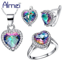Almei 49%off Silver Color Heart Jewelry Set Wedding Bridal Earrings Necklace Ring Set Rainbow Pink Crystal Jewellery Ladies T481(China)