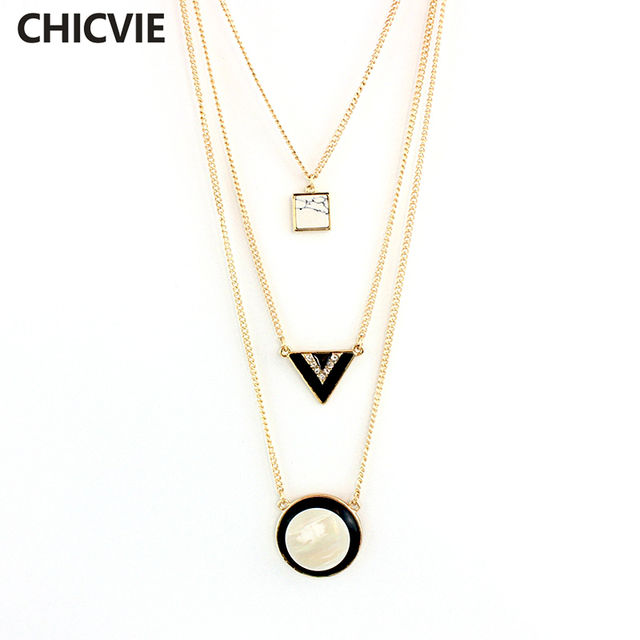 CHICVIE Gold Color Multilayer Collar chain Necklace Jewelry Triangle beads  Pendant Necklace For Women Trending Jewelry SNE160082 487cba4c9c0e
