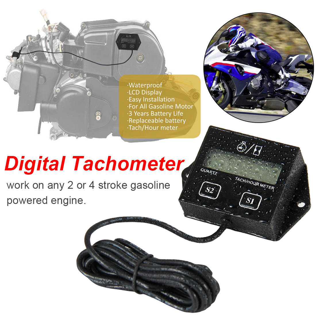 Digital Tachometer Engine Tach Hour Meter LCD Display inductive Tachometer  Tacho Tach Gauge Spin For Motorcycle Car bike Boat