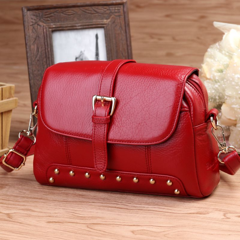 Rivet Women Genuine Leather Handbags Fashion Brand Cow Leather Messenger Shoulder Bags Bolsas Feminina High Quality Phone Bag motorcycle cnc engine guard stator protective plug clutch protect slider cover right