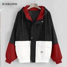 JuneLove Long Sleeve Corduroy Women jacket Spring women Jack