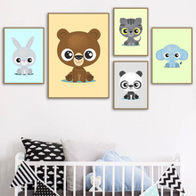 Cartoon Lion Panda Tiger Rabbit Wall Art Canvas Painting Nordic Posters And Prints Animal Pictures Baby Kids Room Decor