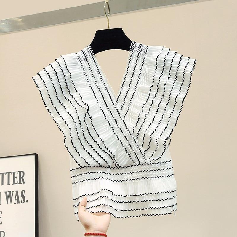 Sexy rayé à volants en mousseline de soie blouse blanc chemise d'été col en v maille patchwork femmes hauts et chemisiers blusas mujer de moda 2019