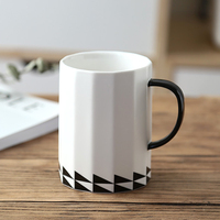 Large Ceramic Coffee Mug 16OZ Big Black White Porcelain Cup Tea Coffee Office Cafe Mugs Cups