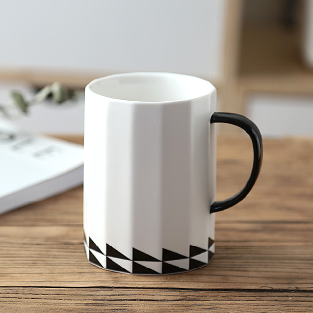 Large Ceramic Coffee Mug 16oz Black White Porcelain Cup Tea Office Cafe Mugs