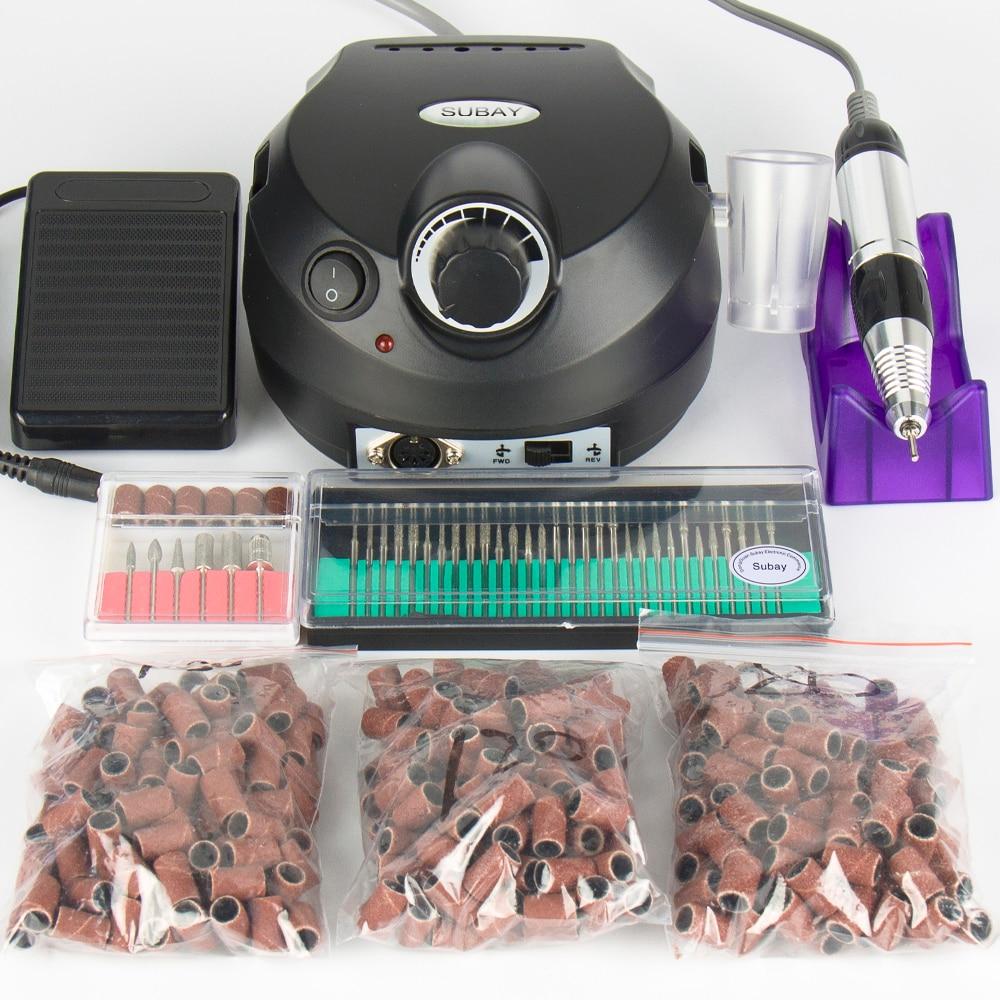 Professionale elettrico Nail Drill Manicure Macchina Pedicure Penna Del Chiodo di trasporto Strumento 30 pz nail drill bit 300 pz fasce di smeriglitatura