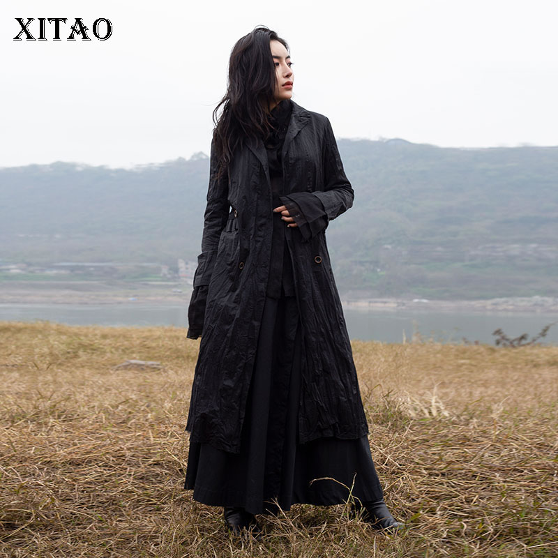 [XITAO] 2019 Spring New Women Fashion Turn-down Collar Full Sleeve Loose Coat Femael Solid Color Double Breasted Trench WBB2597