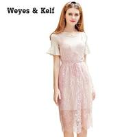 Weyes Kelf Casual Lace Dress Women 2017 Summer Elegant Straps Split Dress Lady Party Dresses Robe