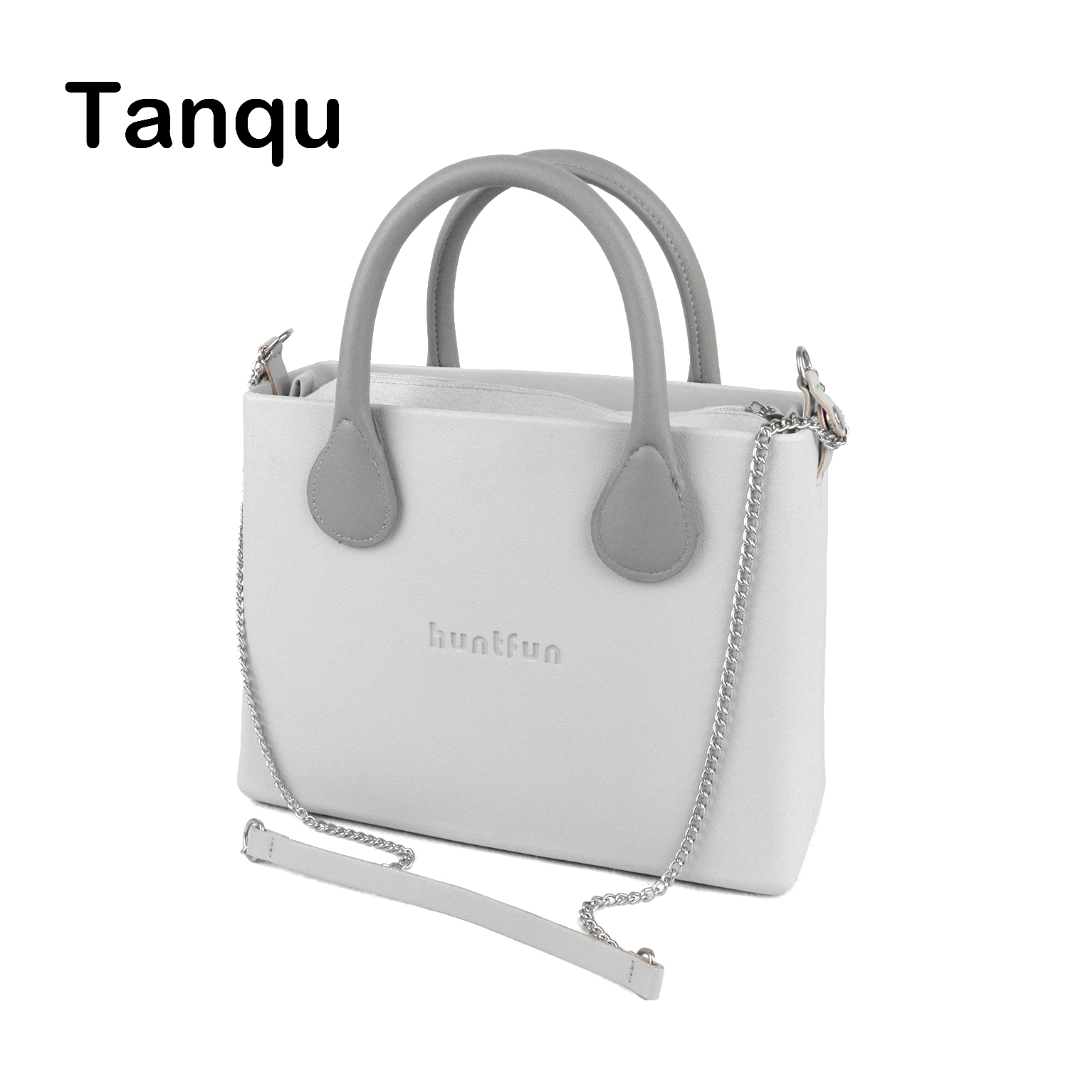 New O Bag Style huntfun Silicon Square EVA Bag with Leather Handle Cross body Shoulder Chain