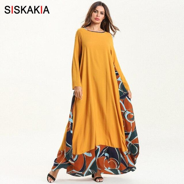 Siskakia קיץ 2019 נשים ארוך שמלת צהוב אלגנטי Loose מקרית מקסי שמלות אופנה צבע בלוק מוסלמית בגדים אסלאמיים איחוד האמירויות הערביות