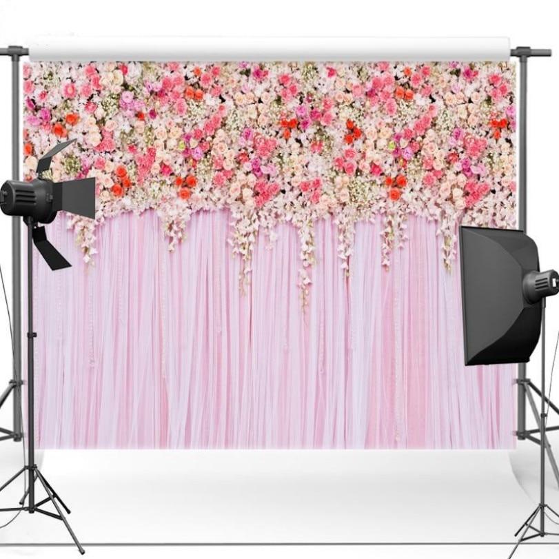 3D Pink Flower Leaves Curtain photo studio background Vinyl cloth High quality Computer print wall backdrops custom vinyl cloth broken wall photo