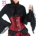 Cintura que adelgaza los corsés corzzet de rayas rojo y negro deshuesado acero de underbust corsé gótico corpetes e espartilhos párr festa