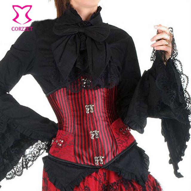 Corzzet vermelho e preto listrado cintura emagrecimento espartilhos de aço desossado underbust corset gótico corpetes e espartilhos de para festa