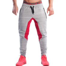High quality 2019 Spring autumn patchwork Drawstring beam foot trousers men Zipper Pocket grey jogger Fitenss Muscle harem pants drawstring camouflage beam feet jogger pants