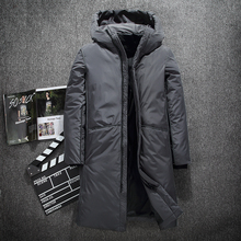 Warm Thick winter down jacket men brand clothing Top quality X-Long Male White duck down coat M-3XL cheap Polyester Asstseries 7085 Broadcloth Acetate 1 2kg Full Loose Thick (Winter) Zippers Pockets NONE Solid 200g-250g Casual