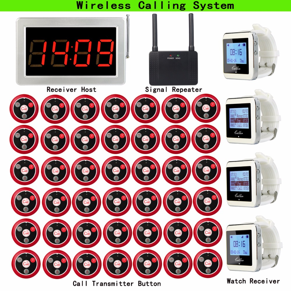 Wireless Calling System for Coffee Shop with 1pcs Receiver Host +4pcs Watch Receiver +1pcs Signal Repeater +42pcs Call Button wireless service call bell system popular in restaurant ce passed 433 92mhz full equipment watch pager 1 watch 7 call button
