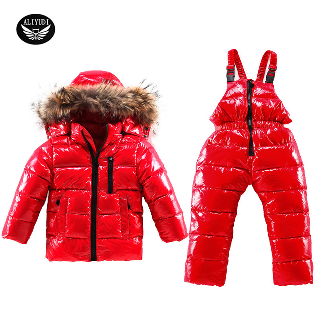 2017 Boys Down Suit Clothing Winter For Boys Girls Duck Down Children's Ski Suit Winter Warm Down Jackets Children Skiing Suit