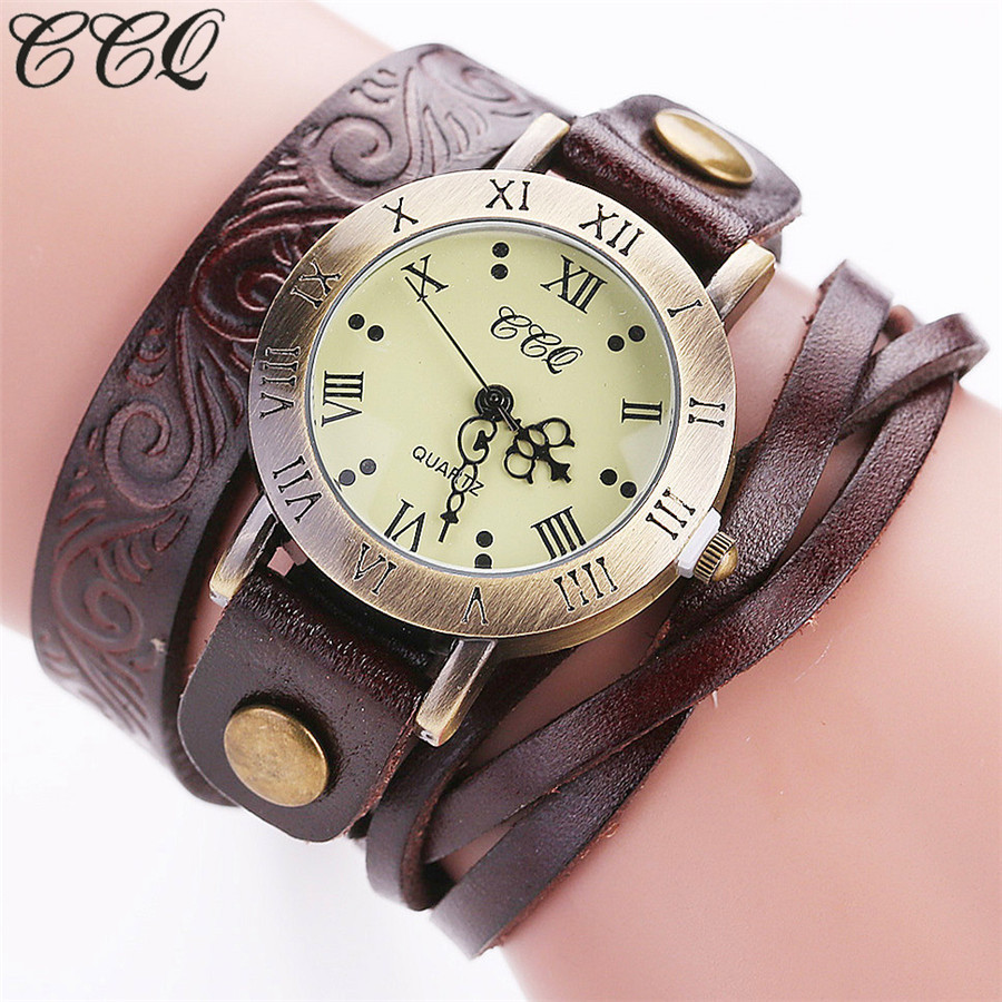 CCQ Fashion Vintage Cow Leather Bracelet Flower Watch Casual Women Wrist Watch Luxury Quartz Watch Relogio Feminino Gift C113 vansvar brand fashion casual relogio feminino vintage leather women quartz wrist watch gift clock drop shipping 1903