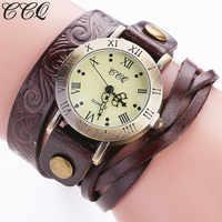 CCQ Fashion Vintage bransoletka ze skóry bydlęcej zegarek z kwiatami Casual kobiety Wrist Watch luksusowy zegarek kwarcowy Relogio Feminino prezent C113