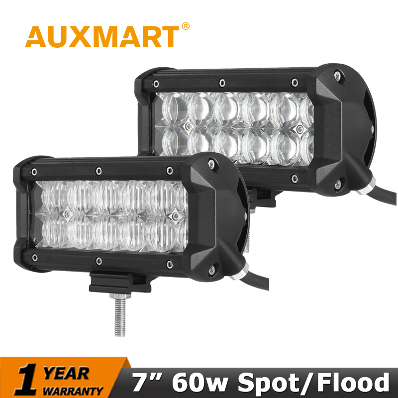 Auxmart 7 60W CREE Chips LED Work Light Bar 5D Spot Flood Beam 12V 24V Offroad 4x4 4WD Truck SUV ATV Led Driving Lamp 2pcs 36w 7 led light bar spot beam offroad driving light 12v 24v 4x4 truck for atv spotlight fog lamp