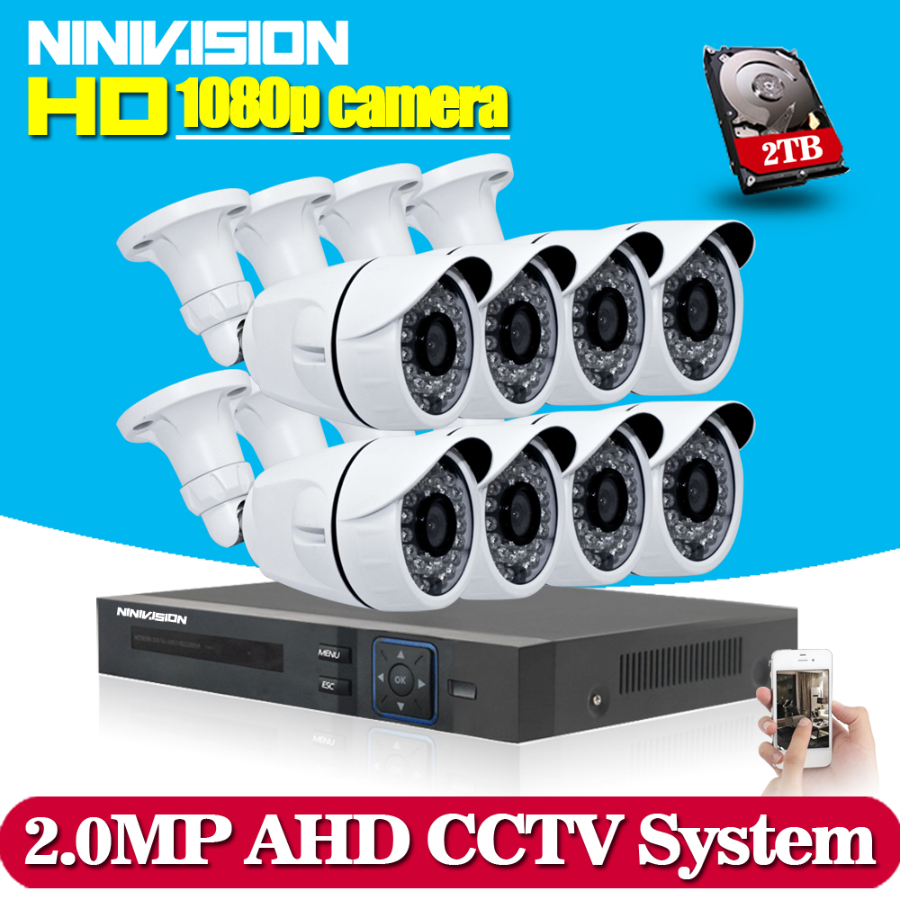 NINIVISION 8CH 1080P AHD CCTV DVR System 8PCS CCTV Cameras 2.0 Megapixels Enhanced IR Security Camera System with 1TB HDD