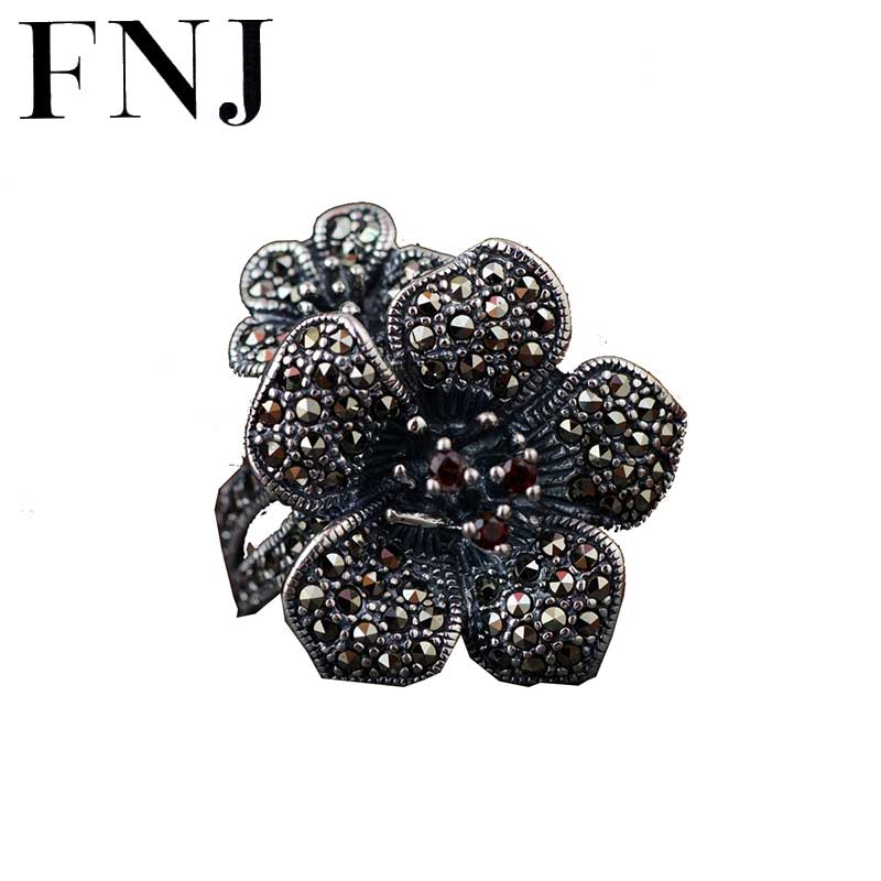 FNJ 925 Silver Flower Ring Punk New Fashion S925 Sterling Thai Silver Rings for Women Men Jewelry Adjustable Size цена